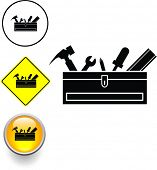 toolbox with tools symbol sign and button