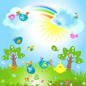 spring sunny day with cute birds