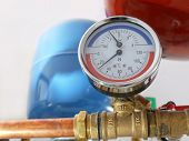 picture of pressure vessel  - Temperature and pressure gauge mounted on boiler pipes - JPG