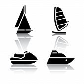 Set of transport icons - boat and sailfish symbols
