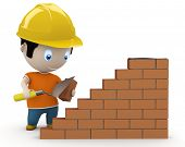 Under construction! Social 3D characters: man using trowel to place the brick. New constantly growin