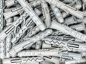 Fondo de plástico gris clavijas tiro desde arriba