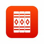 Three Literary Books Icon Digital Red For Any Design Isolated On White Illustration poster