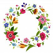 Round Flower Frame For Invitation, Greeting Card, T-shirt Design. Colorful Floral Wreath With Vector poster