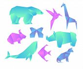 Vector Illustration Set Of Geometric Paper Animals With Color Gradient, 3d Animals, Origami Style. O poster
