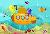 stock photo of skat  - vector illustration of a cute submarine  - JPG
