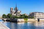 Notre Dame De Paris Cathedral On The Cite Island In The Summer Morning. Notre-dame Cathedral  Is A M poster