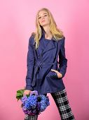 Girl Fashion Model Wear Coat For Spring And Autumn Season. Trench Coat Fashion Trend. Must Have Conc poster