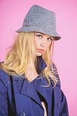 Modern Style. Girl With Make Up Wear Wide Brimmed Hat. Fashion Girl Concept. Fashion And Style. Blon poster