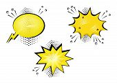 Set Yellow Comic Bubbles For Your Text. Comic Sound Effects In Pop Art Style. Sound Bubble Speech Wi poster