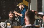 Hipster Bearded Client Getting Hairstyle. Barber With Hairdryer Works On Hairstyle For Bearded Man,  poster