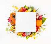 Still life with fresh assorted exotic fruits on a palm leaf. Concept of healthy eating with fruits a poster