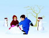 Boy And Girl Playing Snow