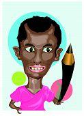 Illustrator Holding Pencil