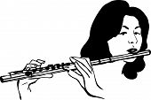 girl plays the wind musical instrument flute