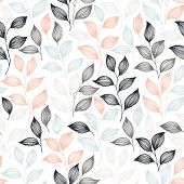 Wrapping Tea Leaves Pattern Seamless Vector. Minimal Tea Plant Bush Leaves Floral Textile Print. Her poster