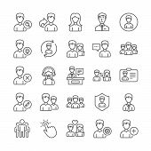 User People Line Icons. Profile, Group And Support Icons. Id Card, Teamwork People And Businessman S poster