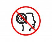 No Or Stop. Copyrighter Icon. Writer Person Sign. Copywriting Symbol. Prohibited Ban Stop Symbol. No poster