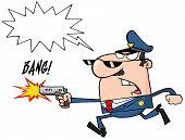 wütend Polizist läuft mit einer Waffe und schießen