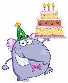 stock photo of ear candle  - Cute Elephant Walking With Birthday Cake With Three Candles - JPG