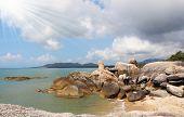 Picturesque cliffs adorn Lamai beach on Koh Samui