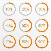 Percentage Diagram Set. 10 20 30 40 50 60 70 80 90 Percent Pie Chart. Business Infographics Template poster