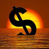 Dollar sinken und Sonnenuntergang mit Depression Rezession und econo