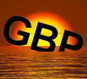 Gbp Word Sinking And Sunset Showing Depression Recession And Eco