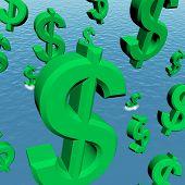 Dollar-Symbole in den Ozean anzeigen Rezession Depression fallen