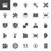 Creative Process Design Vector Icons Set, Modern Solid Symbol Collection, Filled Style Pictogram Pac poster