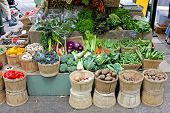 Organic Vegetables Farmers Stall At Borough Market In London Uk poster