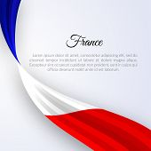 Ribbon Flag Of France On A Light Background Brochure Banner Layout With Wavy Lines Of French Flag Ri poster