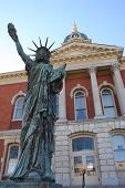 Statue Of Liberty In Front Of The Marshall County Courthouse In Plymouth Indiana
