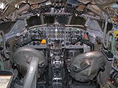 Inside old plane. Cockpit