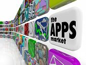 pic of smart grid  - The words App Market on a white application tile in a wall of apps in a store which sells software programs for download to your smart phone or other electronic device - JPG