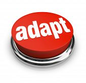 A red button with the word adapt on it, representing the desire to affect instant change and quickly be adaptive to chaingng business or life conditions