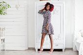 Fashionable Tall African American Model Woman With Red Afro Hair In Dress Posed At White Room Agains poster