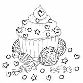 Coloring Page With Cake, Cupcake, Candy And Other Dessert poster