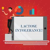 Writing Note Showing Lactose Intolerance. Business Photo Showcasing Digestive Problem Where Body Is  poster