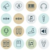 Multimedia Icons Set With Media Player, Audio Buttons, Synthesizer And Other Beat Instrument Element poster