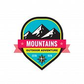Mountain - Concept Badge Vector Illustration. Expedition Explorer Creative Logo In Flat Style. Disco poster