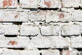 White Old Brick Wall Background. Textured Background.dirty Whitewashed Shabby Plaster. White Brick W poster