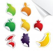 Fruit on stickers.