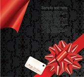 Red ribbon and gift tag.Vector