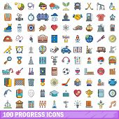 100 Progress Icons Set. Cartoon Illustration Of 100 Progress Icons Isolated On White Background poster