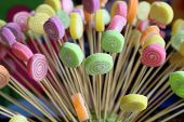 Multi Color Candy With Sticks. Colorful Candy Background. Candy With Rainbow Colors From Children Bi poster
