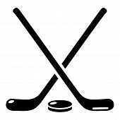 Hockey Stick Icon. Simple Illustration Of Hockey Stick Icon For Web poster