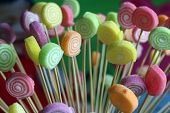 Multi Color Candy Closeup With Sticks. Colorful Candy Background. Candy With Rainbow Colors From Chi poster