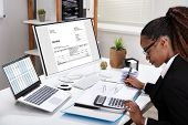 Side View Of Young Businesswoman Calculating Invoice On Computer Screen Near Laptop poster