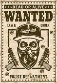 Modern Gangster Skull In Snapback Hat And Bandana On Face Wanted Poster In Vintage Style Vector Illu poster